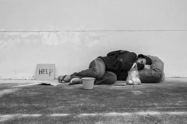 Homeless person in need of addiction treatment
