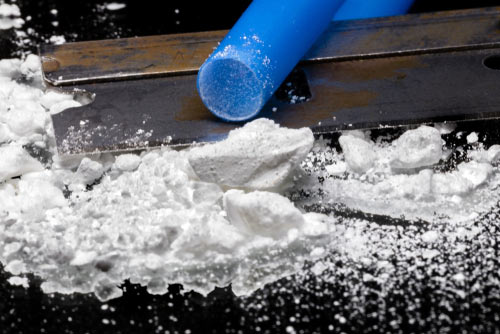 Cocaine rocks and a straw