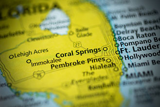 Coral Springs, Florida, on a map
